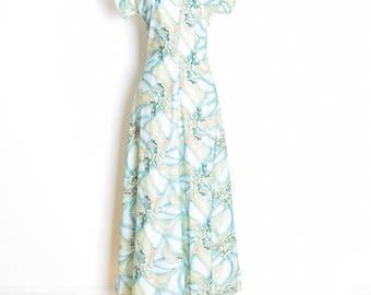 vintage 70s dress, 70s maxi dress, airbrush print dress, floral dress, blue green, hippie dress, boho dress, long dress, 70s clothing, M
