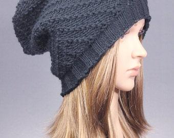Knit Slouch Beanie, Slouchy Hat, Women Hat, Knit Hat, Slouchy Beanie, chunky beanie,Chunky Knit Beanie, Blue Slouchy Beanie,baggy hat