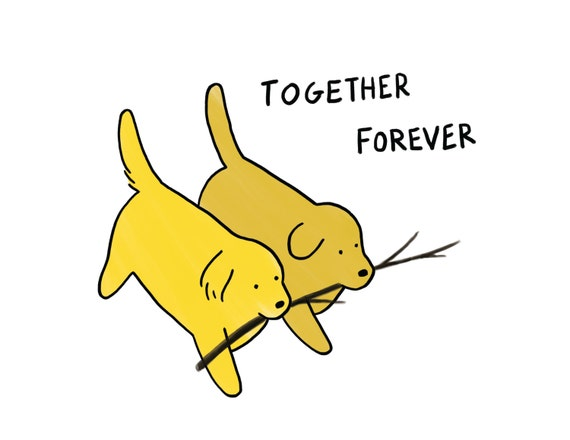 Together Forever Dogs / Greeting Card / Valentine / Wedding Card