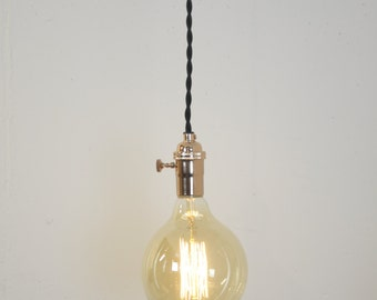 Copper Turn Knob Pendant Light Fixture Hanging Plug in Canopy Vintage Lamp Cord
