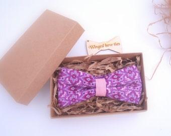 Paisley Bow Tie for Men. Wedding bow tie Groom bow tie Plum bow tie Violet bow tie