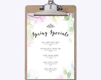 Personalised Restaurant Cafe Pub Specials Menu | Summer or Spring Floral Menu | Luxury A5 Card Stock | Customisable