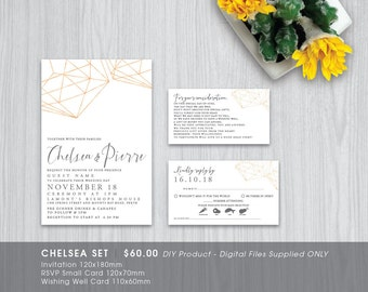 Modern Geometric Printable Wedding Invitation Set - DIY Printable Digital File 'Chelsea'