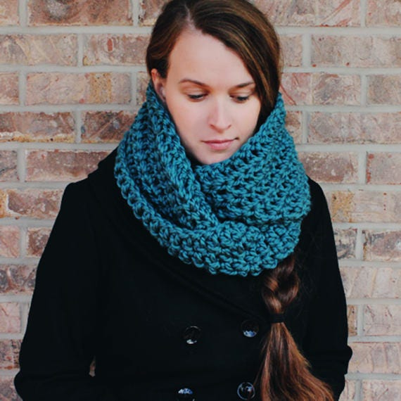 "PDF Crochet Pattern ~ ""The Thunder"" beginner - winter - infinity scarf - cozy - Diy - womens crochet scarf"