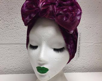 Cerise Floral Velvet Turban Bow Headband