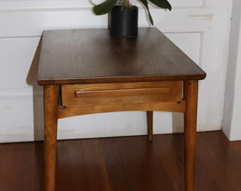Mid Century Wood Side Table with Drawer
