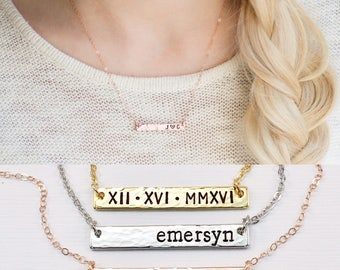 Personalized Name Bar Necklace, Mom Necklace, Rose Gold Bar Necklace, Gold, Silver Custom Hand-Stamped Bar Necklace, Hammered Bar, Gift