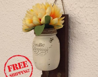 Key hanger, mason jar decor, entry organizer, rustic decor, housewarming, birthday gift, mason jar, home & living, free shipping,