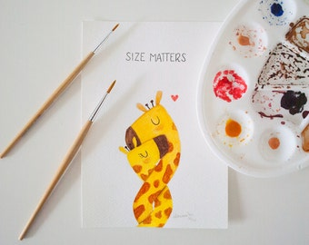 Funny Giraffe Couple Original Watercolor Painting - Inktober