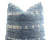 African Mudcloth Pillow Cover, SKU1272, Indigo, Boho Pillow, White, Mud Cloth, Vintage, Ethnic, Textile, Handwoven, 18x18