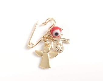 Newborn baby protection jewelry Guardian Angel brooch pin Guardian Angel Jewelry Newborn Gift, Baby Shower, Guardian Angel gifts, mal de ojo