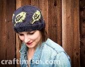 Bird Patterned Knit Hat
