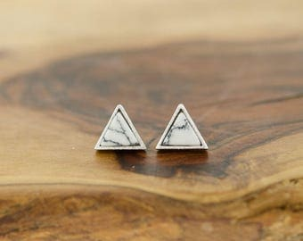 925 Sterling Silver White and Black Howlite Marble Triangle Studs Earrings