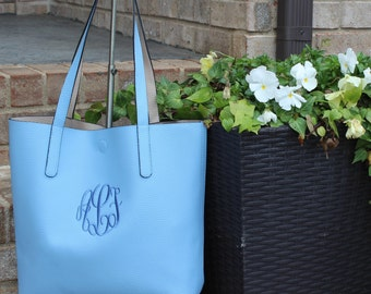Monogrammed Bucket Style TOTE/ Handbag/ Teacher Gift/  Bridesmaid Gift/ NEW COLORS