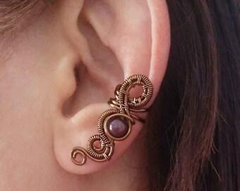Ear cuff Antique Copper Garnet Infinity bow Ear Wrap