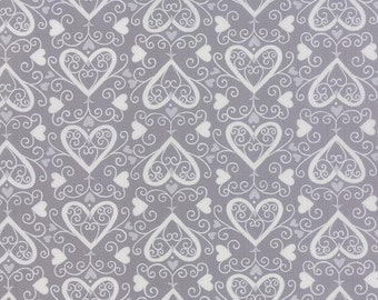 Gray Hearts Fabric, Moda Ever After 19743 15 Deb Strain, Gray Valentines Day Quilt Fabric, Cotton