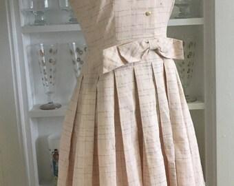 1950s 50s Pink Pastel Plaid Full Skirt Dress
