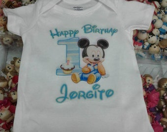 Personalize Custom Mickey Mouse 1st Birthday T Shirt Party Gift with Baby Name (1)
