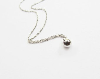 ball necklace. silver ball pendant necklace, necklace,minimalist necklace s