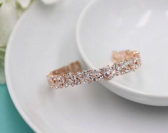 Bridal bracelet, Cuff Wedding Bracelet, Rose Gold wedding bracelet, cz bracelet, cubic zirconia bracelet, Emersyn Rose Gold Cuff Bracelet