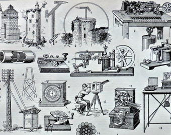 Telegraph at the beginning of 20th. Old book plate, 1922. Antique  illustration. 95 years lithograph. 8'1 x 11'4 inches.