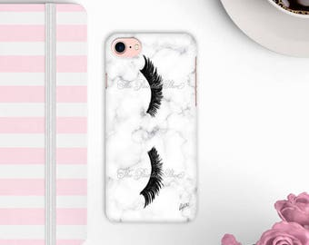 Marble Phone case, iphone 7, iphone 6, fashion illustration, marble, art, illustration, fashion phone case, lashes art, fashion - Mascara