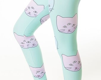 Seeing Things Leggings, three eyed cat leggings, pastel leggings, tights, hands, festival, yoga, unisex leggings, pastel cat