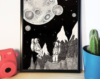Unframed A3 Spaceman Illustration Print
