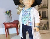 "Pointelle Maxi Cardi for American Girl or 18"" Doll"
