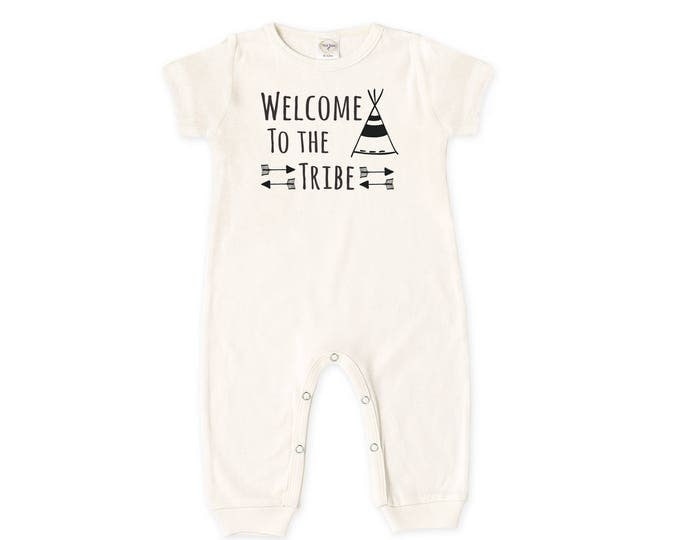 Baby Coming Home Outfit, Baby Boy Romper, Baby Girl Bodysuit, Short Sleeve Romper, Unisex, Welcome to the Tribe, TesaBabe RP860IY000315