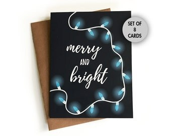 Merry and Bright Christmas Card Set of 8 Cards, Holiday Card, Lights, Pretty, Simple, Calligraphy