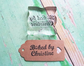 Baked by, Made by stamp, custom rubber stamp