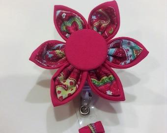Hot Pink Paisley Flower ID Badge Holder