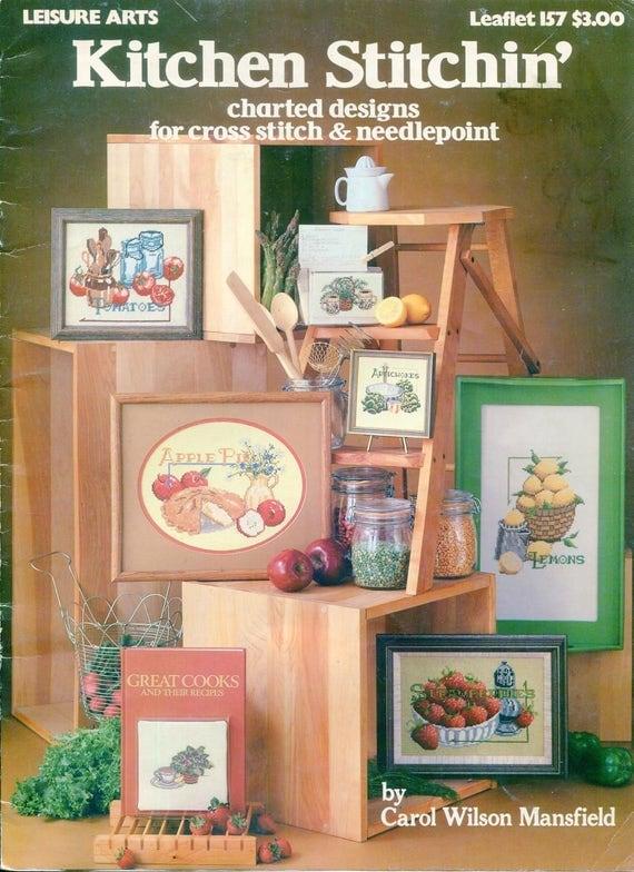 1970s kitchen stitchin 39 cross stitch needlepoint leaflet for Cross stitch kitchen designs