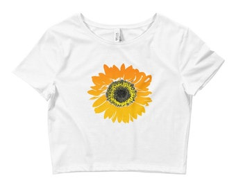 Sunflower Crop Top • Sunflower Shirt • Women's Sunflower Tshirt • Festival Clothing ««« PF00 «