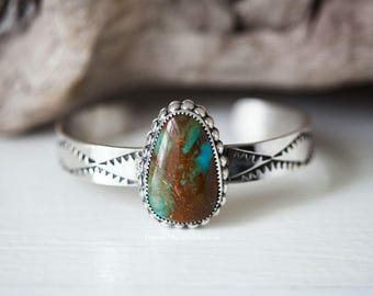 Sterling Silver Kingman Turquoise Cuff Bracelet, Stacking Bracelet, Stamped Cuff, Southwestern Cuff, Native American Inspired, Ready To Ship