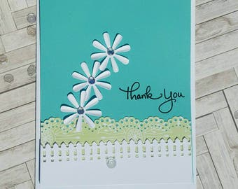 Handmade three dimensional thank you card for greeting, thank you new floral design with envelope.