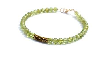 Peridot Stacking Bracelet, Gemstone Bracelet, Delicate Green Bracelet, Everyday Neutral Bracelet