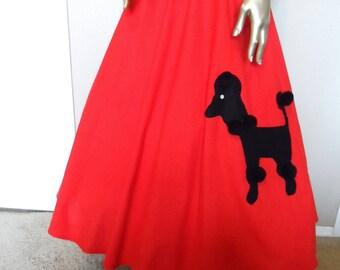 Vintage 1970s Red Full Circle Poodle Skirt Size 7 LILIA SMITH Designer 100