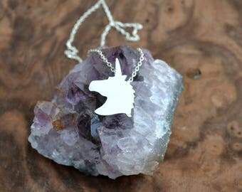 unicorn necklace/sterling silver unicorn shaped charm/unicorn jewelry