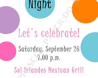 Girls Night Out Invitation- Personalized -Digital File or Printed Invitation