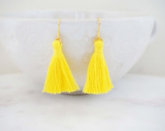 Yellow and Gold Tassel Earrings