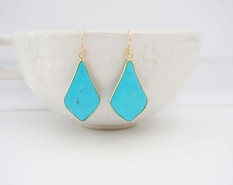 Turquoise and Gold Pendant Earrings