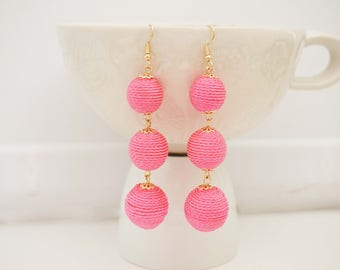 Bright Pink Ball Statement Earrings