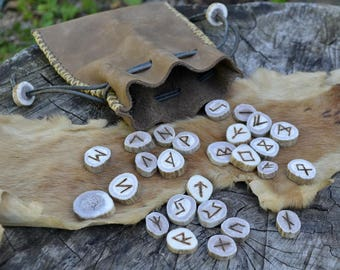 Rune set, rune set with leather pouch, antler rune set, bone rune set, viking, leather pouch, Elder Futhark runes set, Elder Futhark rune