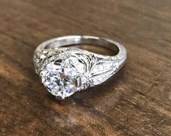 2.34 carats Old European cut diamond ring