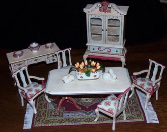 Dining Room Set for 1:12th Dollhouse.  Table, 4 Chairs, Buffet, Dishes, Hutch Included. Painted and Decoupaged.  Fleur de Lis Print Fabric.