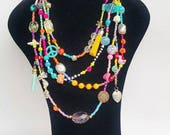 Chunky Necklace - layered necklace - colorful neckart - multi layer necklace - long necklace - tassel necklace - big necklaces - boho