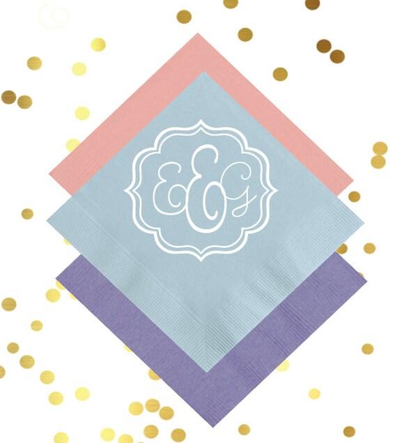 monogrammed cocktail napkins, reception napkins, wedding napkins, monogrammed napkins, script monogram, wedding reception napkins