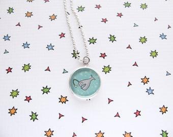 Fish Necklace, Cute Angler Fish Pendant, Ocean Accessories, Sea Jewelry, Aquarium Fish, Funny Fish, Pet Lover Gift